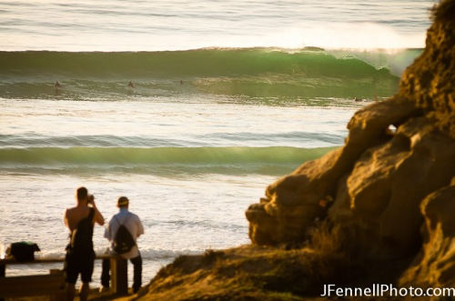 Line up shot of the surf at Black's during evening glass off