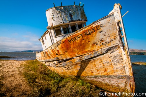 Shipwreck in the town of Inverness near Point Reyes.